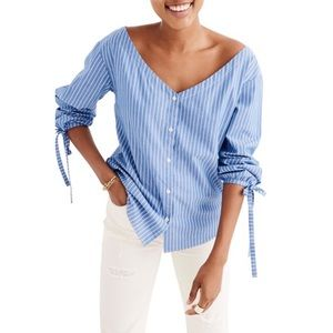 Madewell Morning View Striped Tie Sleeve Top